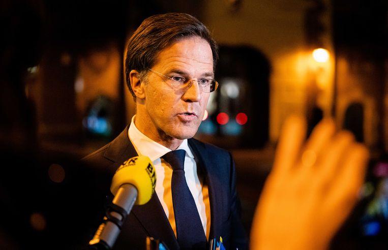 Premier Mark Rutte, woensdagavond op het Binnenhof wegens de extra ministerraad over de toeslagenaffaire. Beeld ANP