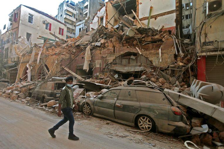 Schade in Beiroet Beeld AFP