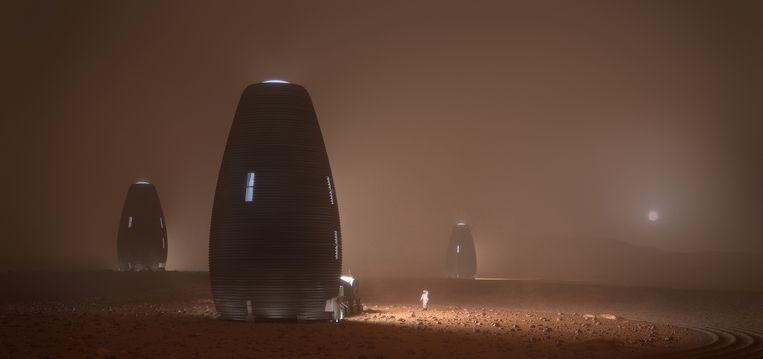 Digitale rendering van Marsha tijdens een zandstorm op Mars. Beeld AI Spacefactory/Plomp
