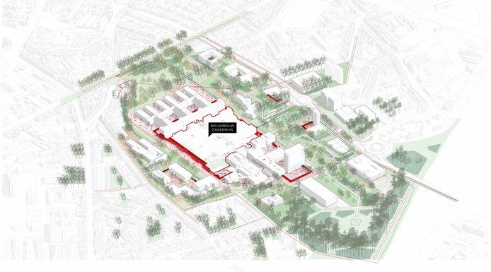 Zo zal de UZ-campus er in de toekomst uit gaan zien, met veel groen en een centraal ziekenhuisgebouw