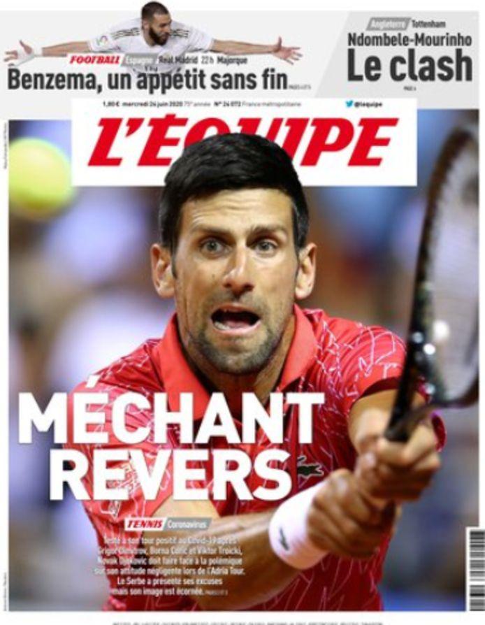 L'Équipe over Djokovic: 'Dit is een zware klap voor het tennis én Djokovic.'