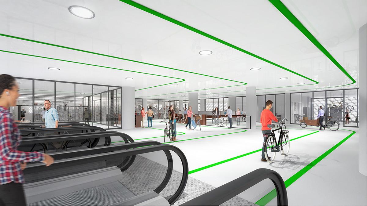 Artist impression van ondergrondse fietsenstalling Koningin Julianaplein