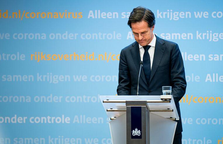 Premier Mark Rutte tijdens de persconferentie over corona.  Beeld Freek van den Bergh / de Volkskrant