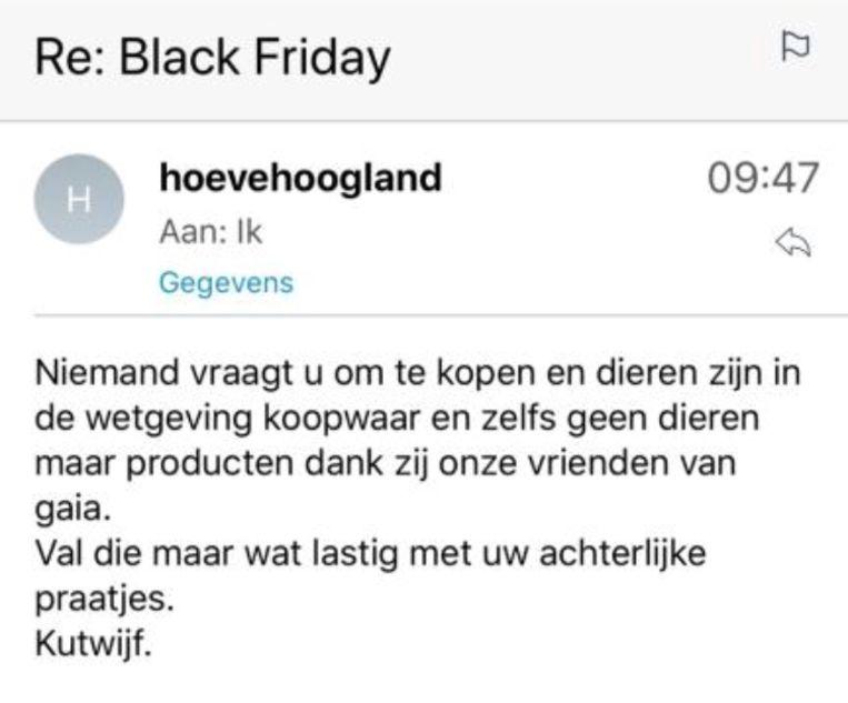 De mail die Xandra Maurer van Hoeve Hoogland als reactie terugkreeg.