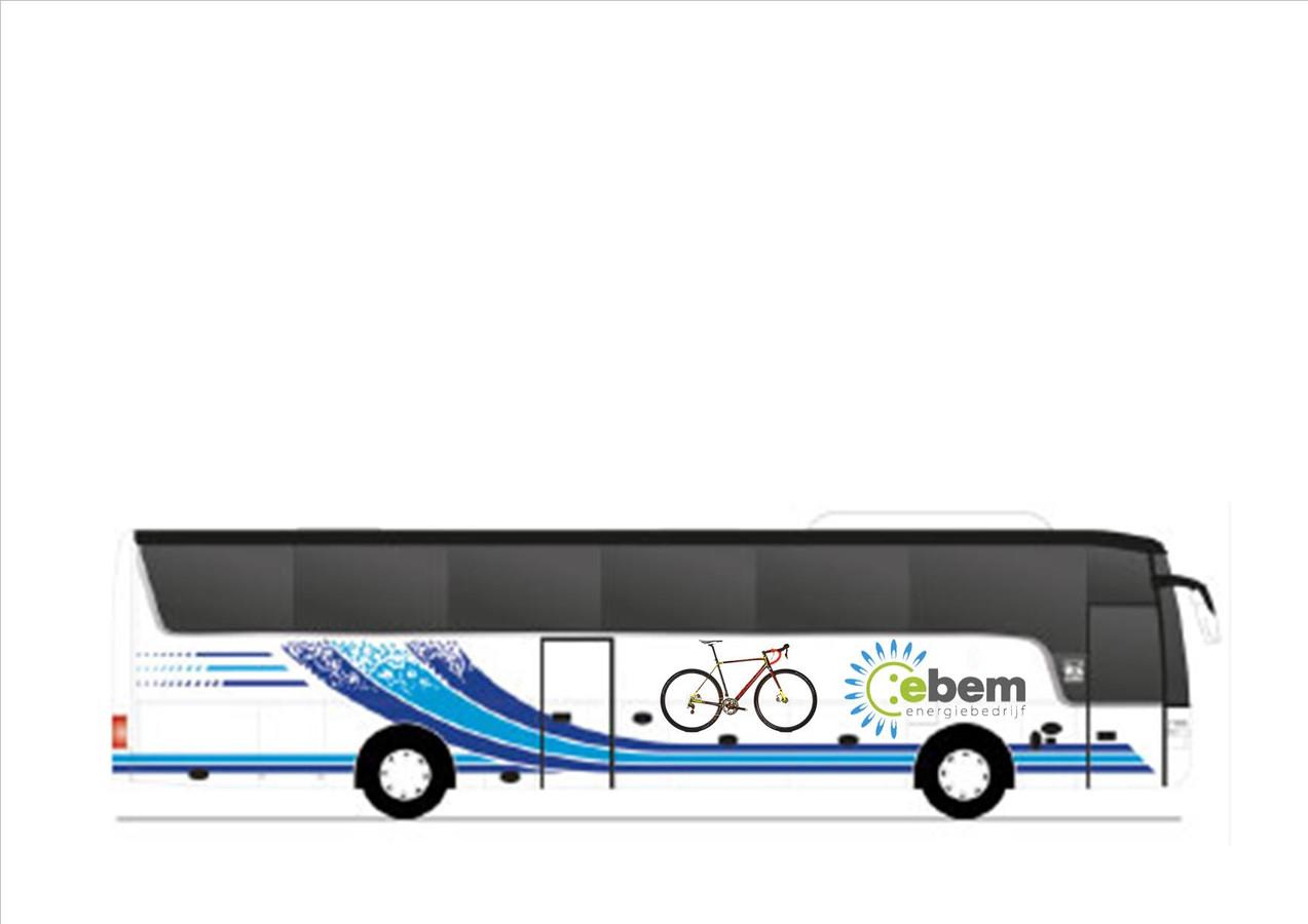 Deze bus zal de toeschouwers veilig van en naar de cross brengen.