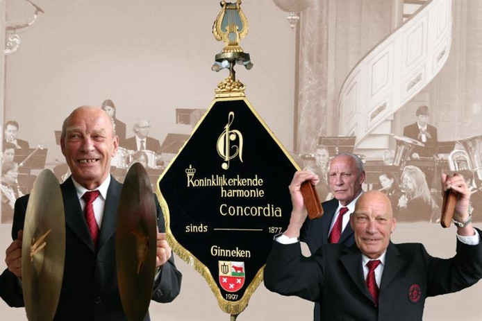 Harmonie Concordia heeft een fotomontage vervaardigd waarin de drie kwaliteiten van het trouwe lid Jack Nelemans tot uiting komen: de bekkens slaan, het vaandel dragen, maar vooral klepperen, met twee handen tegelijk. fotomontage Theo de Kanter