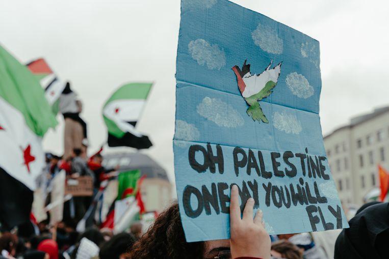 Pro-Palestijnse betoger in Brussel. Beeld Damon De Backer