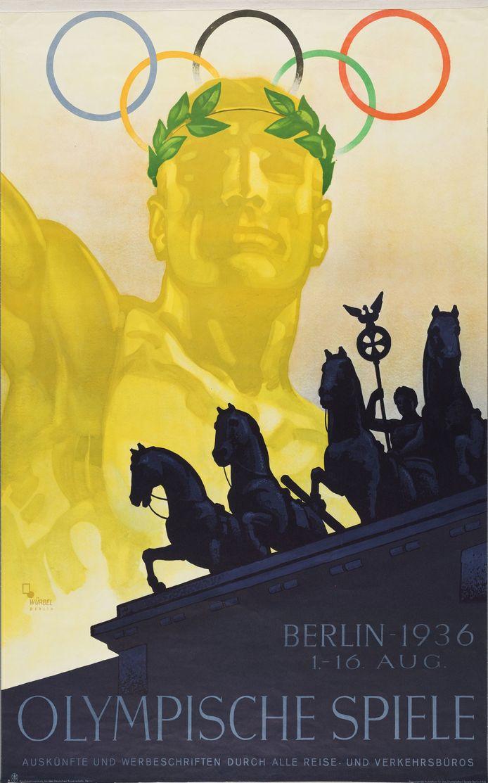 Poster van de Olympische Spelen in Berlijn 1936.