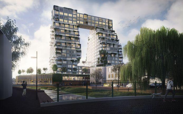 Het plan voor een dubbele toren bij de Schellensfabriek aan de Vestdijk/Bleekweg in Eindhoven, gezien vanaf Stratumseind.