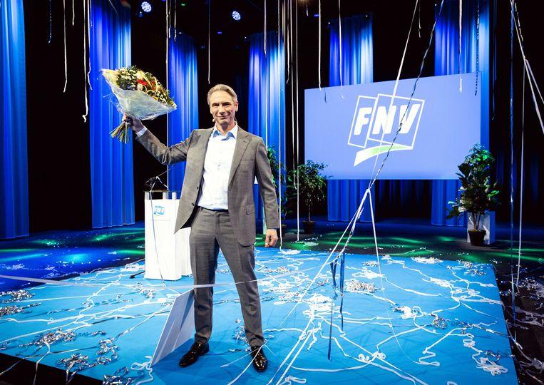 Tuur Elzinga is tijdens een onlinevergadering van de FNV benoemd tot de nieuwe voorzitter van de vakbeweging. Beeld ANP, Sem van der Wal