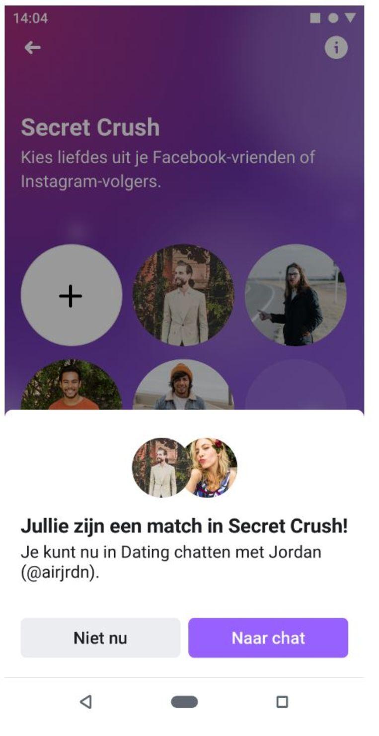 Een van de opties binnen Facebook Dating: secret crush Beeld Facebook