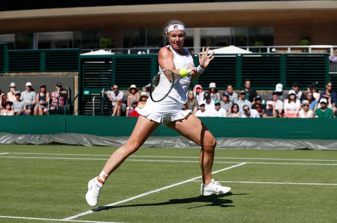 Kiki Bertens tijdens haar laatste deelname aan Wimbledon in 2019.