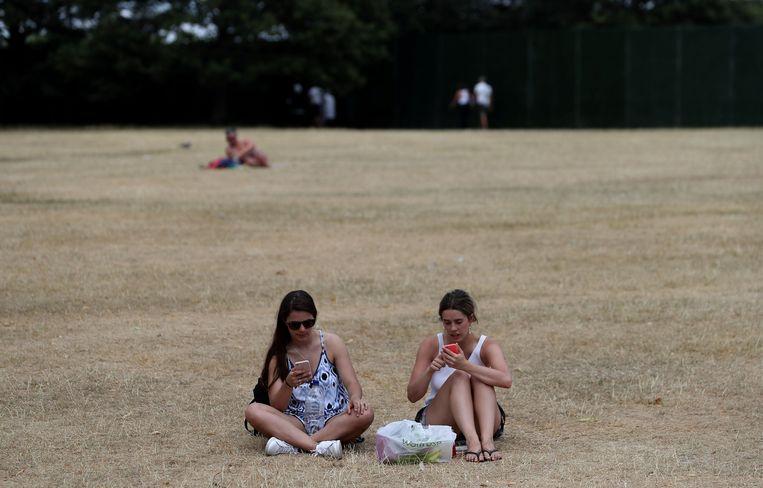 Bezoekers op het inmiddels dorre gras in Hyde Park, Londen.  Beeld AFP
