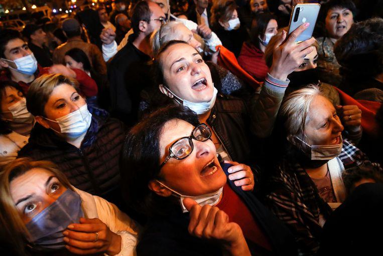 Protest in Jerevan. Beeld AP
