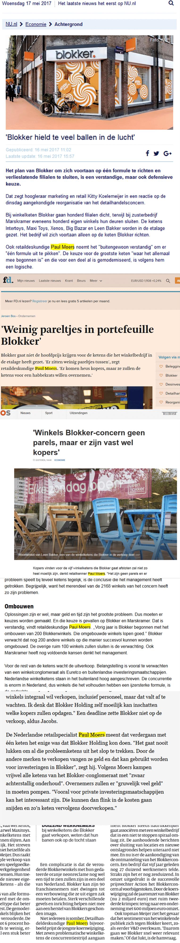 Moers op Nu.nl, in het Financieele Dagblad, bij de NOS, in het AD, in de Belgische krant De Morgen en in de Volkskrant. Beeld .