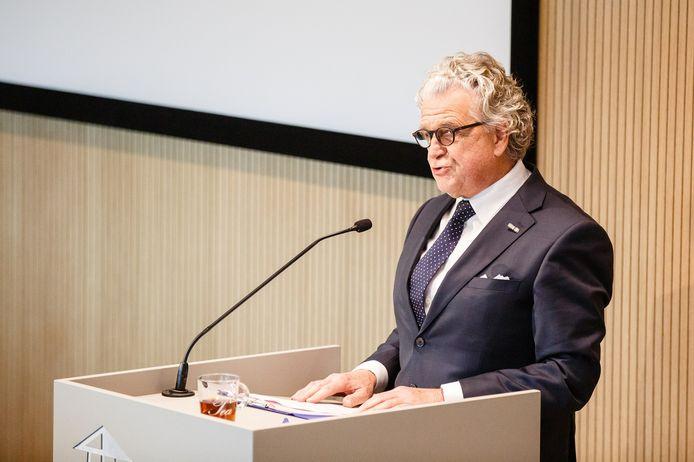 Willem Louwers tijdens de opening van het vernieuwde Nationaal Monument Kamp Vught.