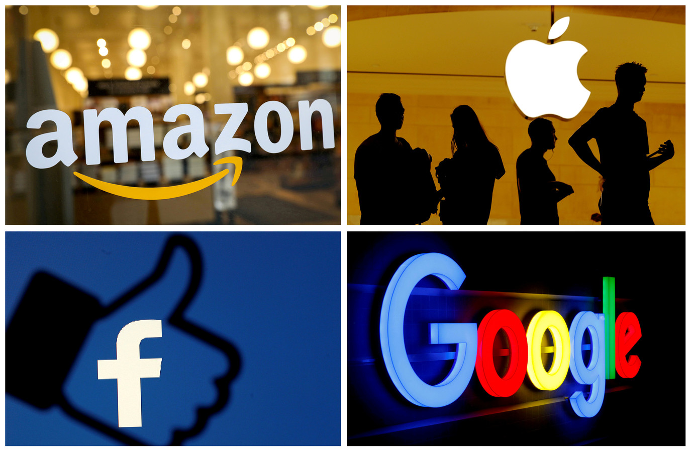 De logos van Amazon, Apple, Facebook en Google.