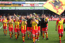 De spelers van GA Eagles na de gewonnen periodetitel in 2009, de laatste van de Deventer club.