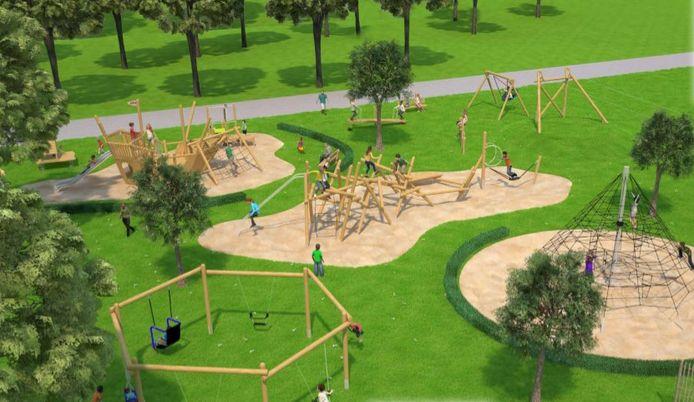 Een toekomstbeeld van de nieuwe speeltuin.
