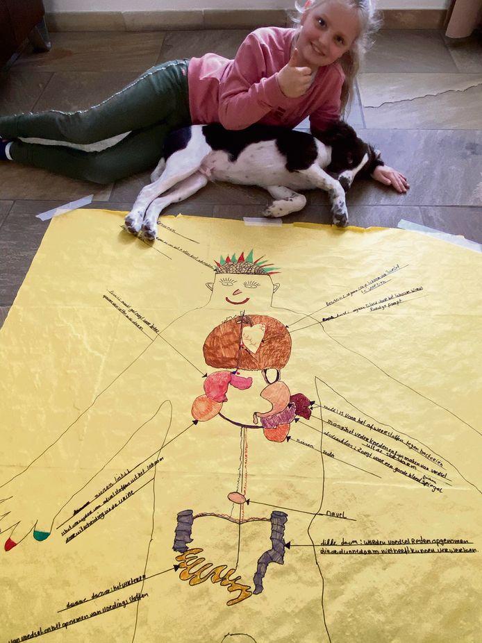 Gilke maakte voor school (basisschool Het Palet in Hapert) een tekening van haar eigen lichaam.