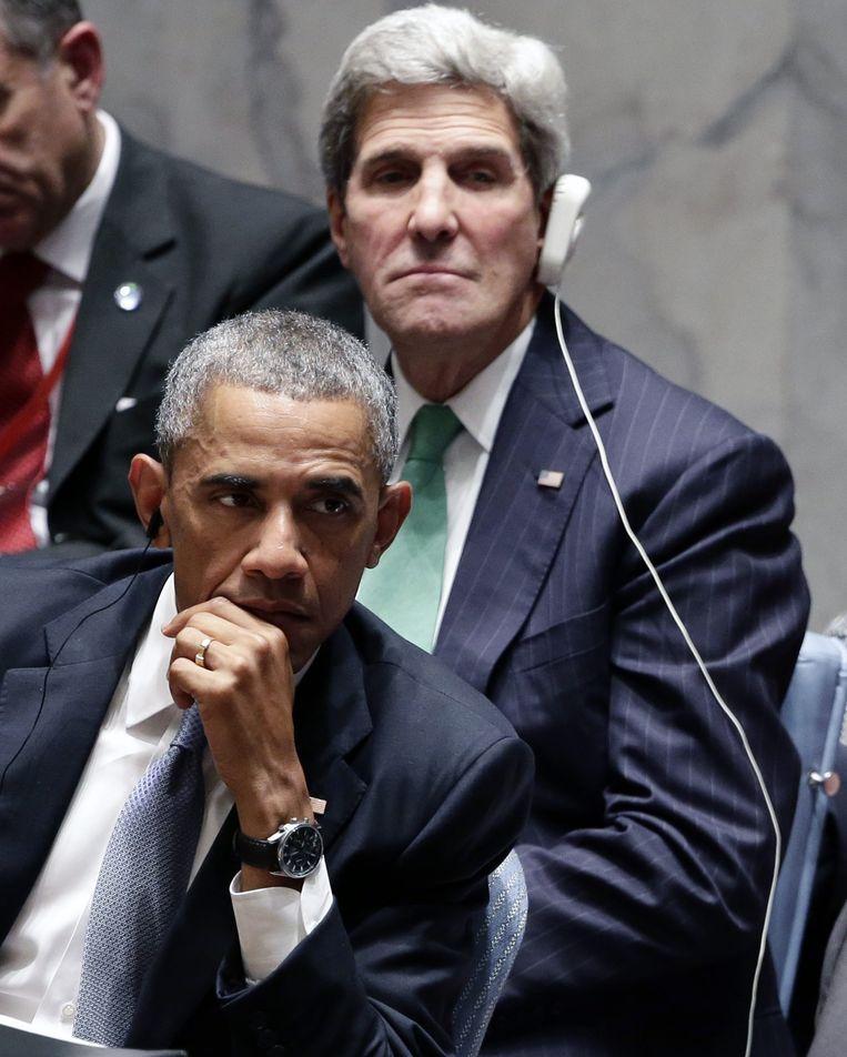 Obama en Kerry tijdens de VN-Veiligheidsraad. Beeld epa
