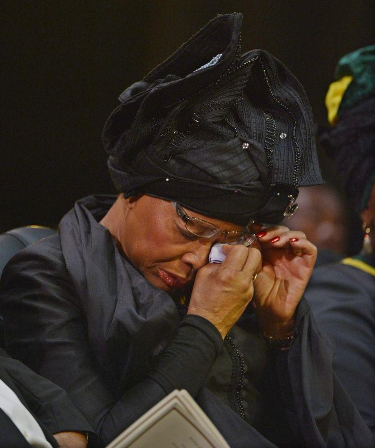Mandela's weduwe bij de uitvaart. Beeld epa
