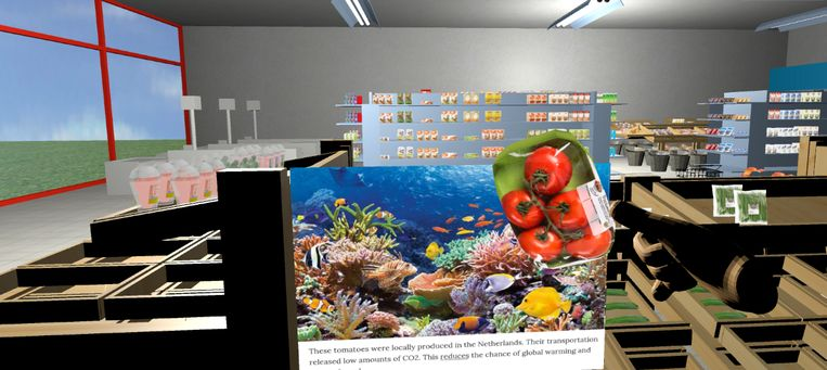 Een afbeelding die in de VirtuMart verschijnt bij het maken van een duurzame keuze.  Beeld rv