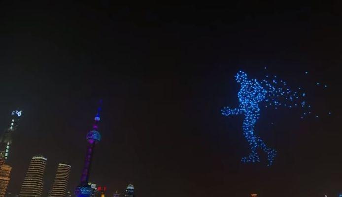 Bij de droneshow in Sjanghai gingen 2000 drones de lucht in.