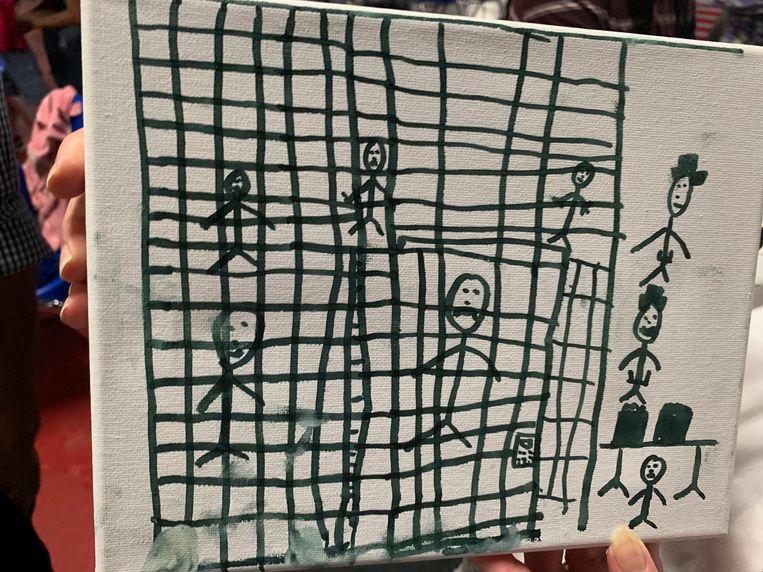 Tekeningen van migrantenkinderen die de interesse hebben gewekt van het Smithsonian.  Beeld AP