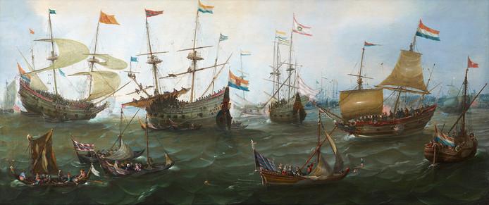 Andries van Eertvelt: 'De feestelijke terugkeer in Amsterdam van de Tweede Scheepvaart naar Oost-Indië, 19 juli 1599'.