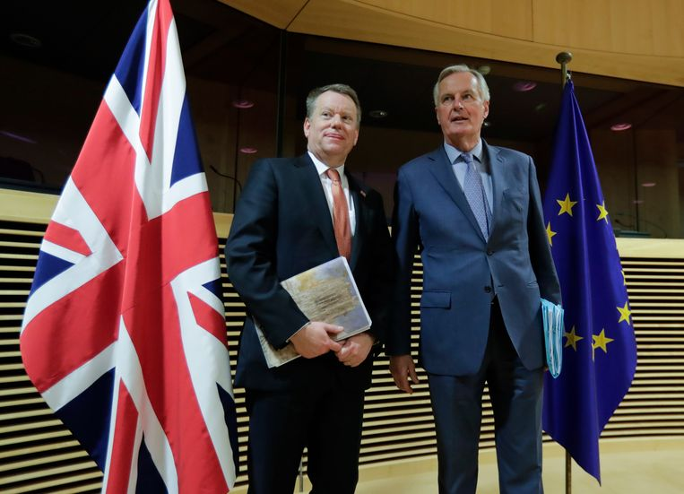 De hoofdonderhandelaars van de brexit: Michel Barnier (rechts) en David Frost.  Beeld AP