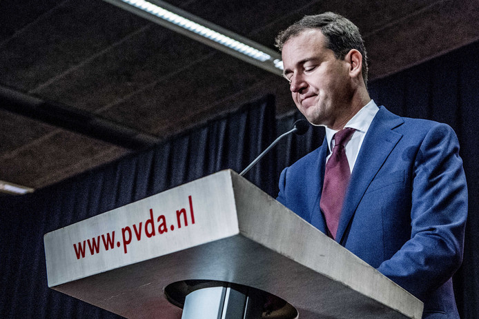 Lodewijk Asscher tijdens de politieke ledenraad van de Partij van de Arbeid in het Beatrixkwartier.