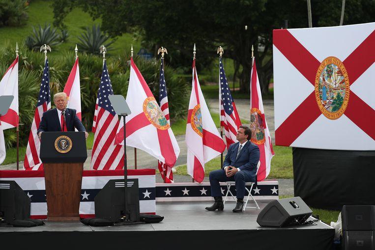 Ron DeSantis en Donald Trump in Florida, september 2020.   Beeld Getty Images
