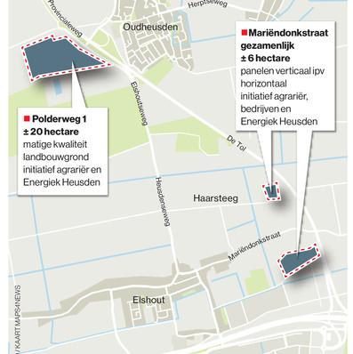 De locaties in de gemeente Heusden waar zonnevelden kunnen komen.