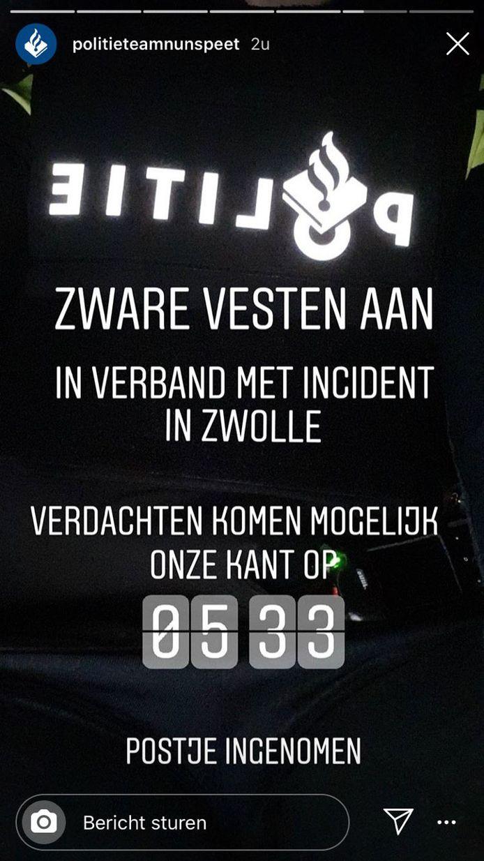 De politie Nunspeet stond op de uitkijk na de mogelijke schietpartij in Zwolle.