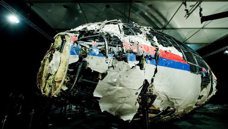 De restanten van de MH17, zoals getoond tijdens de presentatie van het onderzoeksrapport. Beeld null