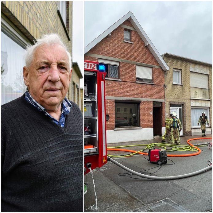 Louis Kimpe (87) ging het vuur te lijf in afwachting van de komst van de brandweer.