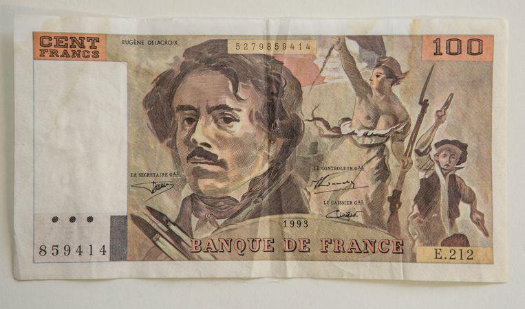 De beeltenis van Delacroix op een oud Frans bankbiljet. Beeld