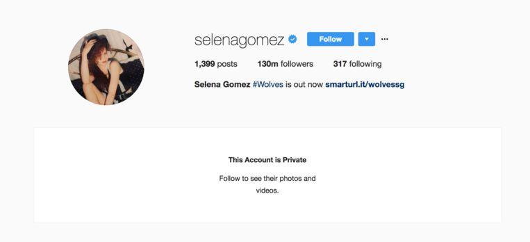 Een screenshot van Selena's account toen het privé gemaakt was.