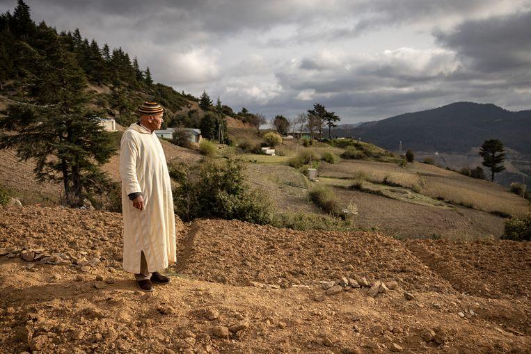 Een Marokkaanse boer voor de cannabisvelden bij het Rifgebergte. Beeld Hollandse Hoogte / AFP