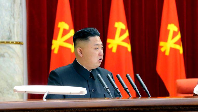 Kim Jong-un spreekt op een bijeenkomst van de Noord-Koreaanse arbeiderspartij Beeld REUTERS