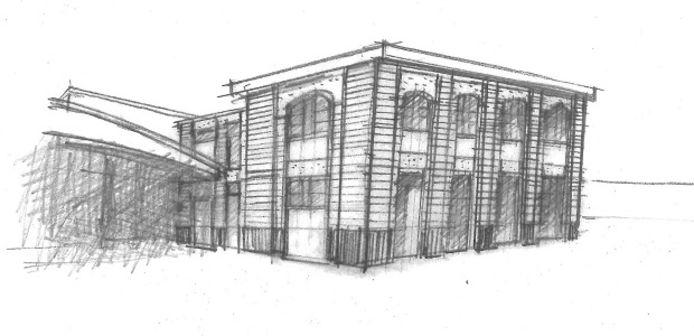 Een schets van het nieuwe gebouw voor Chiro Hiro.