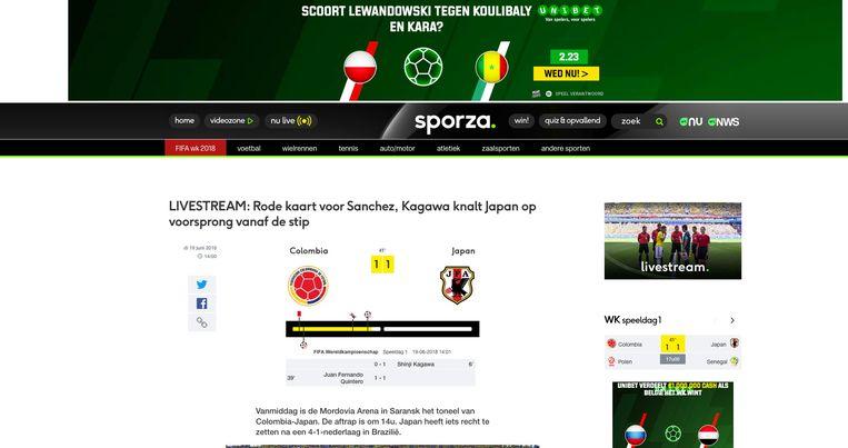 Sinds wanneer is het normaal geworden om op de openbare omroep voetbalwedstrijden te flankeren met reclame voor gokwebsites? UNIBET Beeld VRT