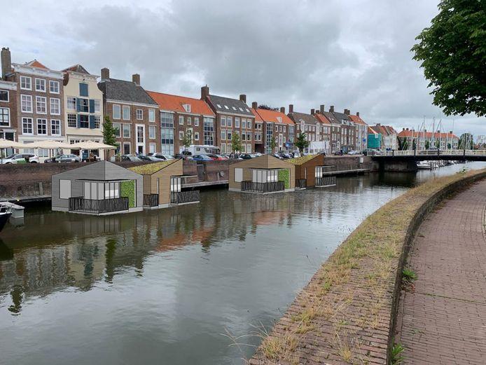Ontwerp voor drijvende lodges in Middelburg in het Prins Hendrikdok voor de Rotterdamsekaai.