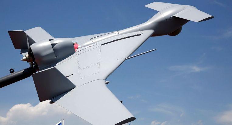 De Harpij, een door Israël ontwikkeld onbemand vliegtuigje voorzien van een explosieve lading. De Harpij spoort zelfstandig radargolven op en stort zich daarna op de vijandelijke radarinstallaties.   Beeld EPA