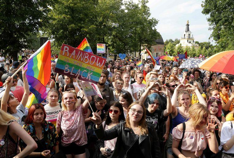 De eerste lhbt-demonstratie in Bialystok, in het oosten van Polen. Beeld AFP