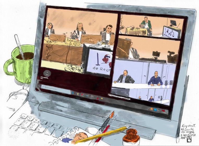 Rechtbanktekening van een zitting in coronatijd. Links in beeld de rechtbank, rechts boven de persvoorlichter, daaronder de officier van Justitie en daaronder de verdachte  met zijn advocaat vanuit de gevangenis.  Beeld ANP