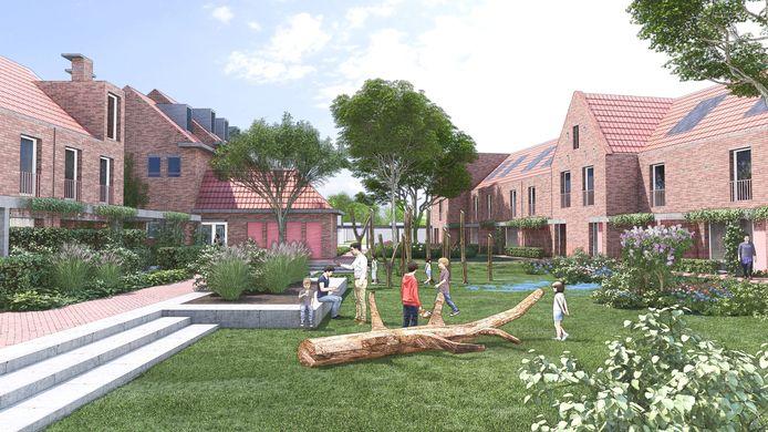 Plan Lourdeshof van Van Grunsven Ontwikkeling voor het BACS-pand en de oude school aan de Vlokhovenseweg in Eindhoven. De gemeente verkoopt het pand en de grond.