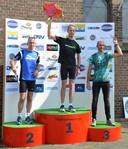 De snelste drie mannen overall: 1. Toon Heeren (Achilles LTV), 2. Richard van Oosterhout (AVR'90) en 3. Ad Verheijen (AVO'83).