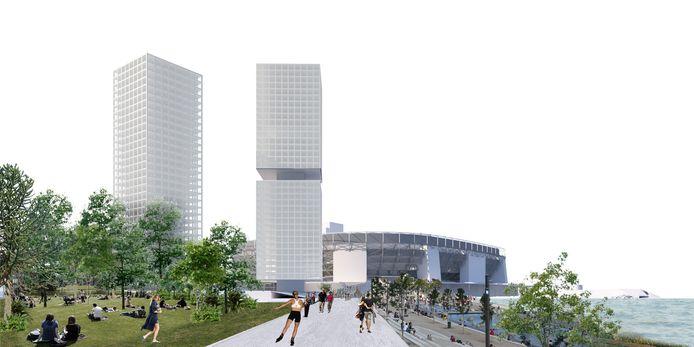 Zicht vanaf De Veranda over het waterfront en de route naar het nieuwe stadion.